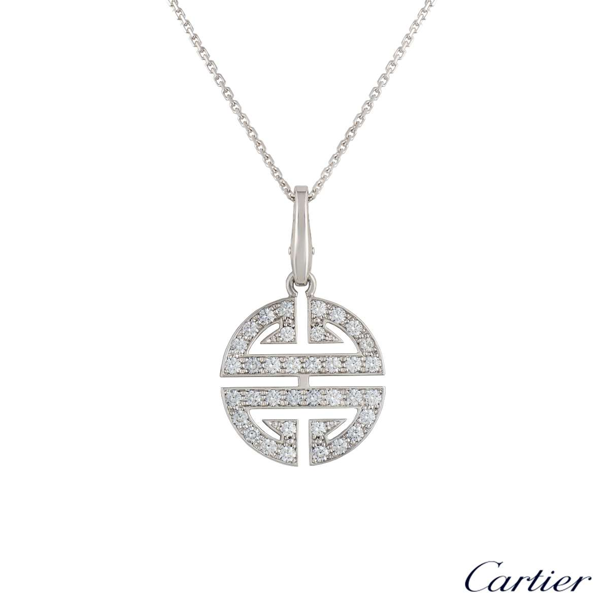 Cartier 18k white gold diamond symbols pendant 063ct gvs rich cartier 18k white gold diamond symbols pendant 063ct gvs aloadofball Images